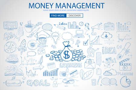 Photo pour Money Management concept with Doodle design style saving solution, investmen studies, stock graphs. Modern style illustration for web banners, brochure and flyers. - image libre de droit