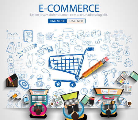 Illustration pour E-commerce Concept with Doodle design style :on line marketing, social media,creative thinking. Modern style illustration for web banners, brochure and flyers. - image libre de droit