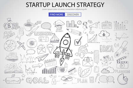 Ilustración de Strartup Launch Strategy Concept with Doodle design style :finding solution, monetization strategy, increase funding. Modern style illustration for web banners, brochure and flyers. - Imagen libre de derechos