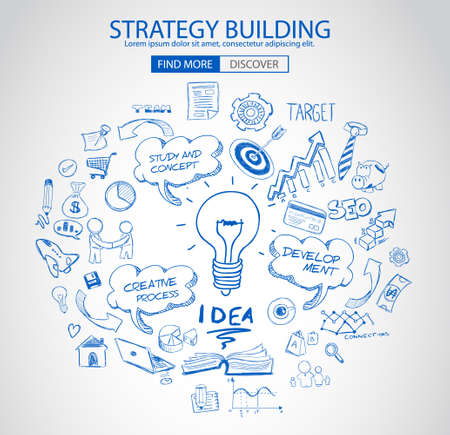 Illustration pour Strategy Building concept with Doodle design style :finding solution, brainstorming, creative thinking. Modern style illustration for web banners, brochure and flyers. - image libre de droit