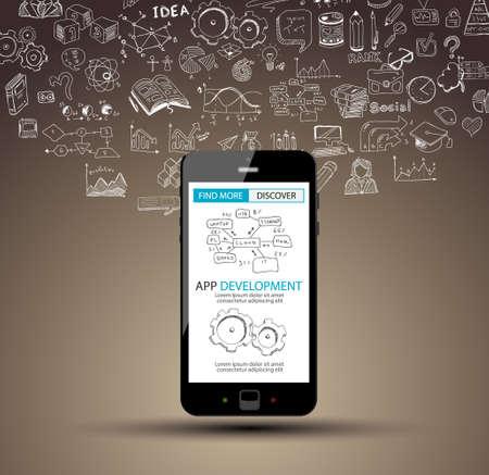 Illustration pour App Development Concept Background with Doodle design style :user interfaces, UI design,mobiel devices. Modern style illustration for web banners, brochure and flyers. - image libre de droit