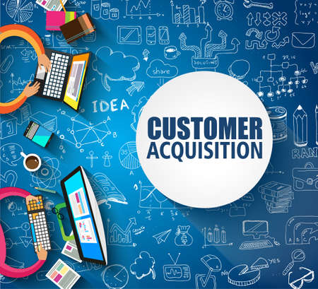 Ilustración de Customer Acquisition concept with Doodle design style:people inteview, shop testing, clear selection. Modern style illustration for web banners, brochure and flyers. - Imagen libre de derechos