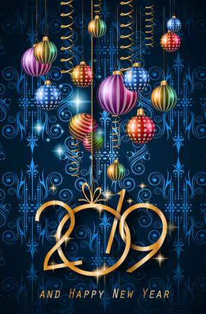 Illustration pour 2019 Happy New Year Background for your Seasonal Flyers and Greetings Card or Christmas themed invitations - image libre de droit