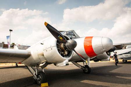 Foto de Airplane closeup photo at Farnborough Air Show 2018 - Imagen libre de derechos