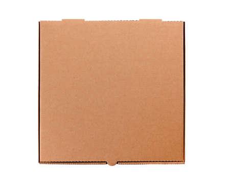 Foto de plain brown cardboard pizza box isolated against a white background.  Space for copy. - Imagen libre de derechos