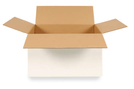 Foto de Open plain white cardboard box with brown inside isolated on a white background.  Space for copy. - Imagen libre de derechos