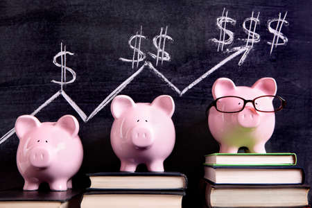 Photo for Three pink piggy banks standing on books next to a blackboard with simple savings progress chart.  Sharp focus on the piggy banks. - Royalty Free Image
