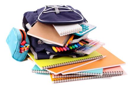 Foto de School bag with books and equipment - Imagen libre de derechos