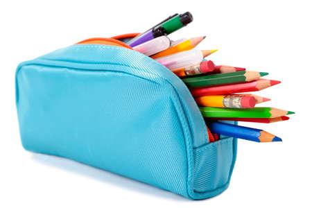 Photo pour Blue pencil case - image libre de droit