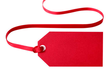 Photo for Red gift tag with red ribbon isolated on white. - Royalty Free Image