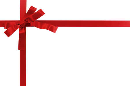 Foto per Red gift bow and ribbon isolated on white background - Immagine Royalty Free