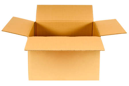 Photo pour Open plain brown blank cardboard box isolated on white background, copy space - image libre de droit