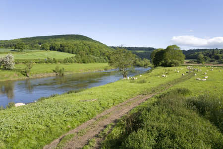 The valley of the river wye wales england border monmouthshire herefordshire uk.
