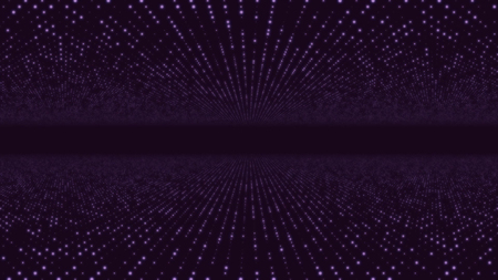Photo pour Abstract particle fail in the dark. Random small particles form horizontal abstract lines. Infinite space background. Matrix of glowing stars with illusion of depth, perspective. Small circles appear and form evolving lines and patters moving towards center - image libre de droit