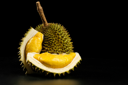 Photo for Durian - King of fruit in black background - Royalty Free Image