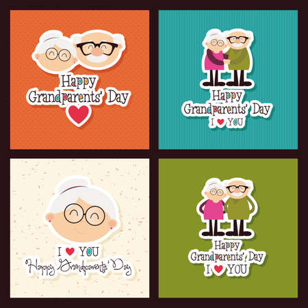 Illustration for abstract grandparents day background with special objects - Royalty Free Image