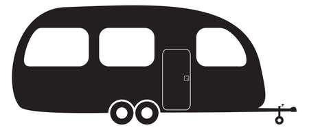 Illustration pour A caravan silhouette isolated on a white background - image libre de droit
