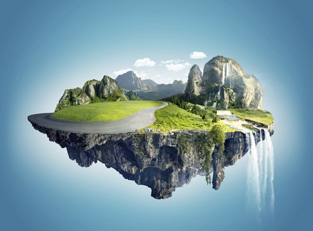 Photo for Magic island with floating islands, water fall and field - Royalty Free Image