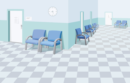 Illustration pour Empty waiting room in the hospital. Private medical practice. Modern Interior at the doctor. The best medical health care. Simple flat vector illustration. - image libre de droit