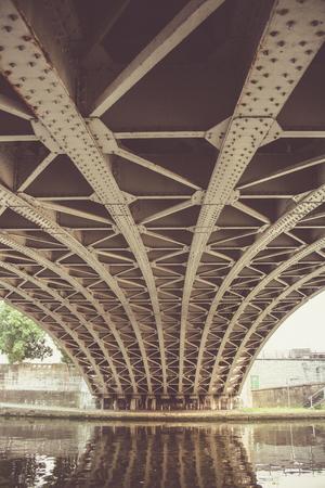Foto de Under the bridge over the river Meuse in Namur, Belgium - Imagen libre de derechos
