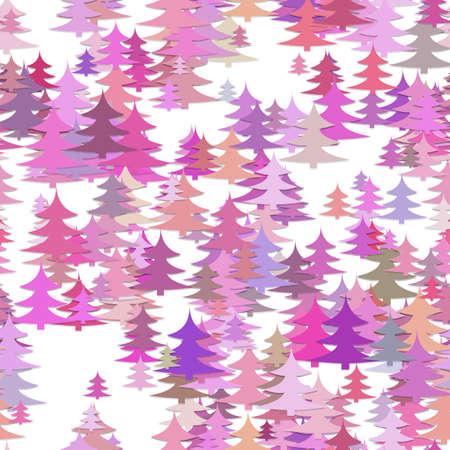 Ilustración de Seamless abstract chaotic pine tree background - holiday vector decoration graphic design - Imagen libre de derechos