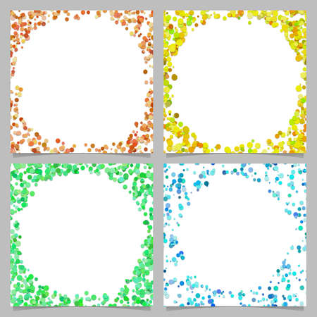Ilustración de Colored abstract round border background design set with dots - Imagen libre de derechos