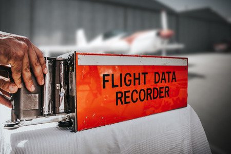 Photo for Flight data recorder from a plane. Black box. - Royalty Free Image
