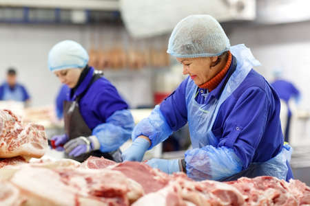 Photo for Cutting meat in slaughterhouse. The meat and sausage factory. - Royalty Free Image