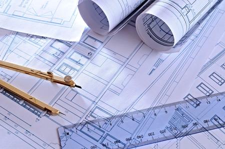 Photo pour architectural plans of a dwelling with blue tint top view - image libre de droit
