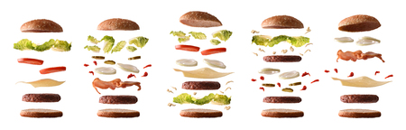 Foto per Set of different burgers with ingredients separated by layers on white isolated background. Front view. Horizontal composition. - Immagine Royalty Free