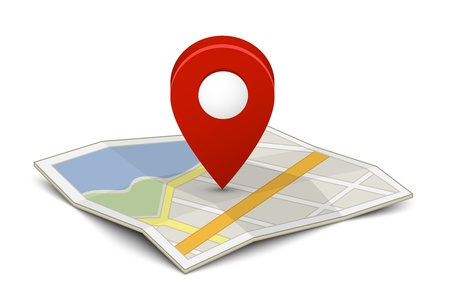 Illustration for Map with a pin isolated on white - Royalty Free Image