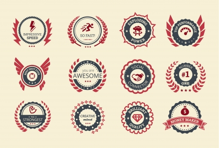 Illustration for Achievement badges for games or applications  Two shades of color  - Royalty Free Image