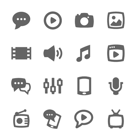 Illustration pour Simple set of media related vector icons for your design - image libre de droit