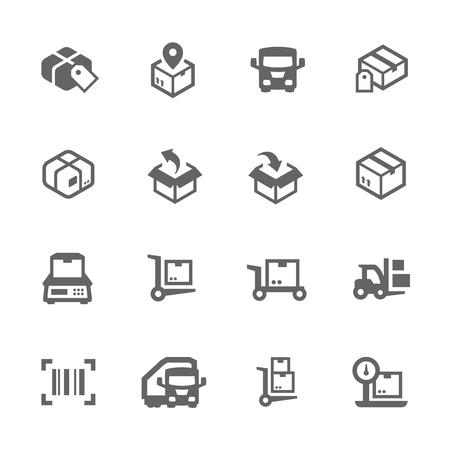 Ilustración de Simple Set of Cargo Related Vector Icons for Your Design. - Imagen libre de derechos