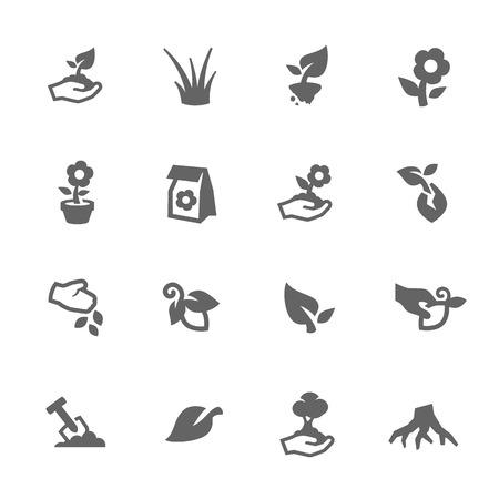 Illustration pour Simple Set of Growing Plants Related Vector Icons for Your Design. - image libre de droit