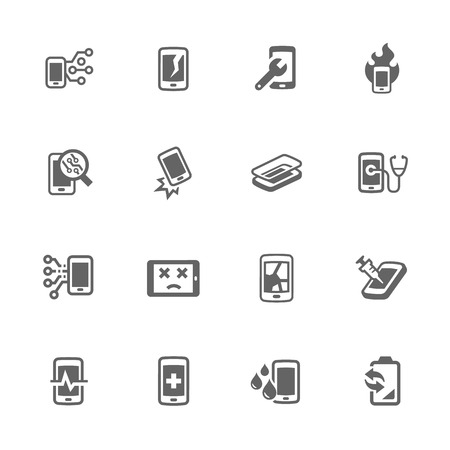 Illustration pour Simple Set of Smart Phone Repair Related Icons. Contains Such Icons as Screen Crack, Protective Glass, Battery Replacement, Diagnose and More. - image libre de droit