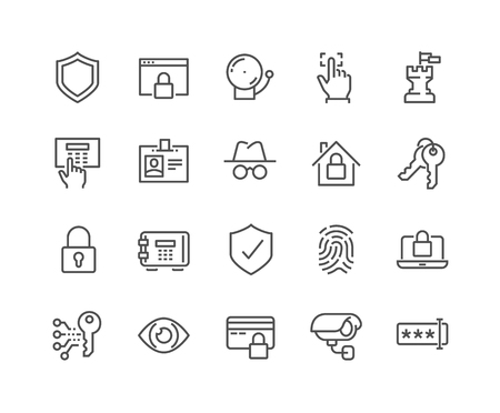 Ilustración de Simple Set of Security Related Vector Line Icons. Contains such Icons as Finger Print, Electronic key, Spy, Password, Alarm and more. Editable Stroke. 48x48 Pixel Perfect. - Imagen libre de derechos