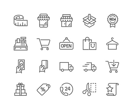 Illustrazione per Simple Set of Shopping Related Vector Line Icons. Contains such Icons as Mobile Shop, Payment Options, Sizing Guide, Starred, Delivery and more. Editable Stroke. 48x48 Pixel Perfect. - Immagini Royalty Free