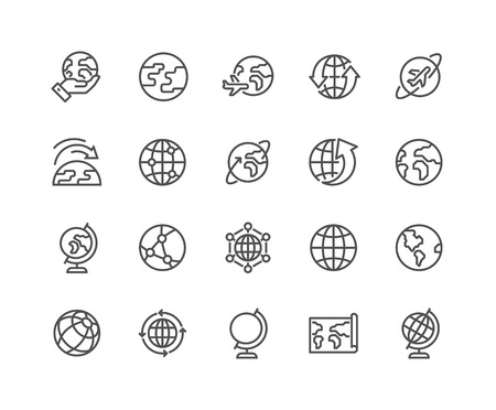 Illustration pour Simple Set of Globe Related Vector Line Icons. Contains such Icons as World Map, Connections, Global Business, Travel and more. Editable Stroke. 48x48 Pixel Perfect. - image libre de droit