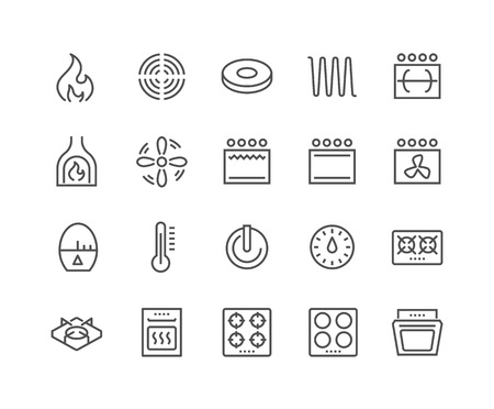 Illustration pour Simple Set of Stove Related Line Icons. Contains such Icons as Timer, Heat, Gas, Induction, Electrical Stove and more. Editable Stroke. 48x48 Pixel Perfect. - image libre de droit