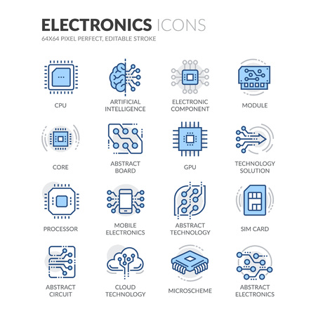 Illustration pour Simple Set of Electronics Related Color Vector Line Icons. Contains such Icons as CPU, Artificial Intelligence, Sim Card and more. Editable Stroke. 64x64 Pixel Perfect. - image libre de droit