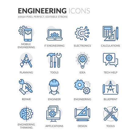 Illustration pour Simple Set of Engineering Related Color Vector Line Icons. Contains such Icons as Calculations, Blueprint, Engineer, App Design and more. Editable Stroke. 64x64 Pixel Perfect. - image libre de droit