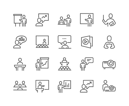 Illustration for Simple Set of Business Presentation Related Vector Line Icons. Contains such Icons as Presenter, Teacher, Audience and more. Editable Stroke. 48x48 Pixel Perfect. - Royalty Free Image