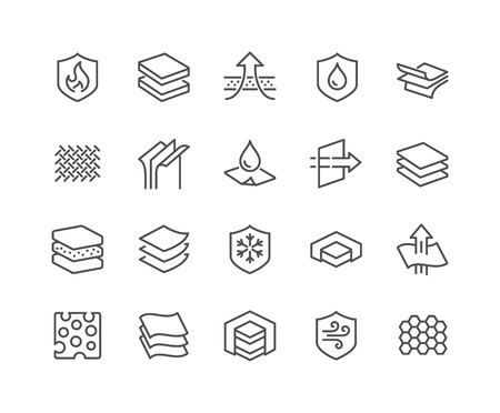 Illustration for Simple Set of Layered Material Related Vector Line Icons. Contains such Icons as Waterproof, Wind Protection, Fabric Layers and more. Editable Stroke. 48x48 Pixel Perfect. - Royalty Free Image