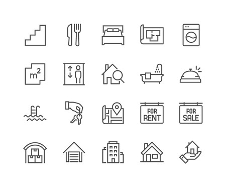 Illustration for Simple Set of Real Estate Related Vector Line Icons. Contains such Icons as Map, Plan, Bedrooms, Area, Bell and more. Editable Stroke. 48x48 Pixel Perfect. - Royalty Free Image