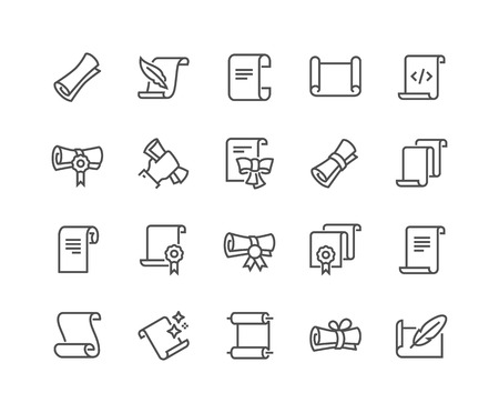 Illustration pour Line Scrolls and Papers Icons - image libre de droit