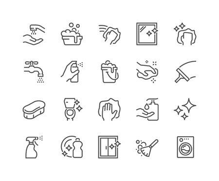 Illustration pour Line Cleaning Icons - image libre de droit