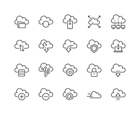 Ilustración de Line Computer Cloud Icons - Imagen libre de derechos