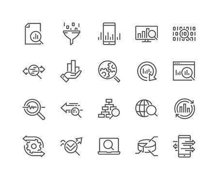 Illustration pour Line Data Analysis Icons - image libre de droit