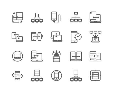 Illustration pour Line Data Exchange Icons - image libre de droit